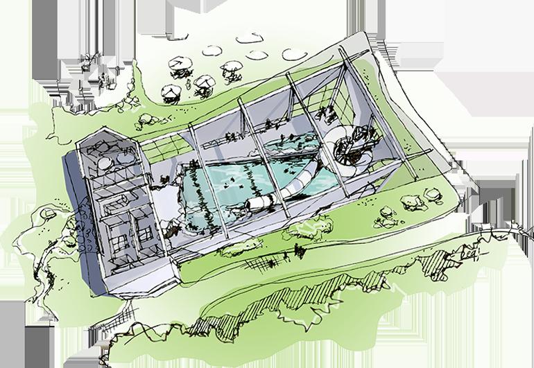 Zwembad Camping - Vogelvlucht