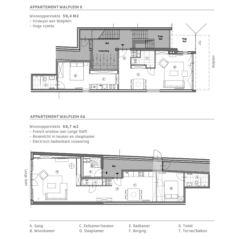 Lange Delft Middelburg - plattegrond appartementen