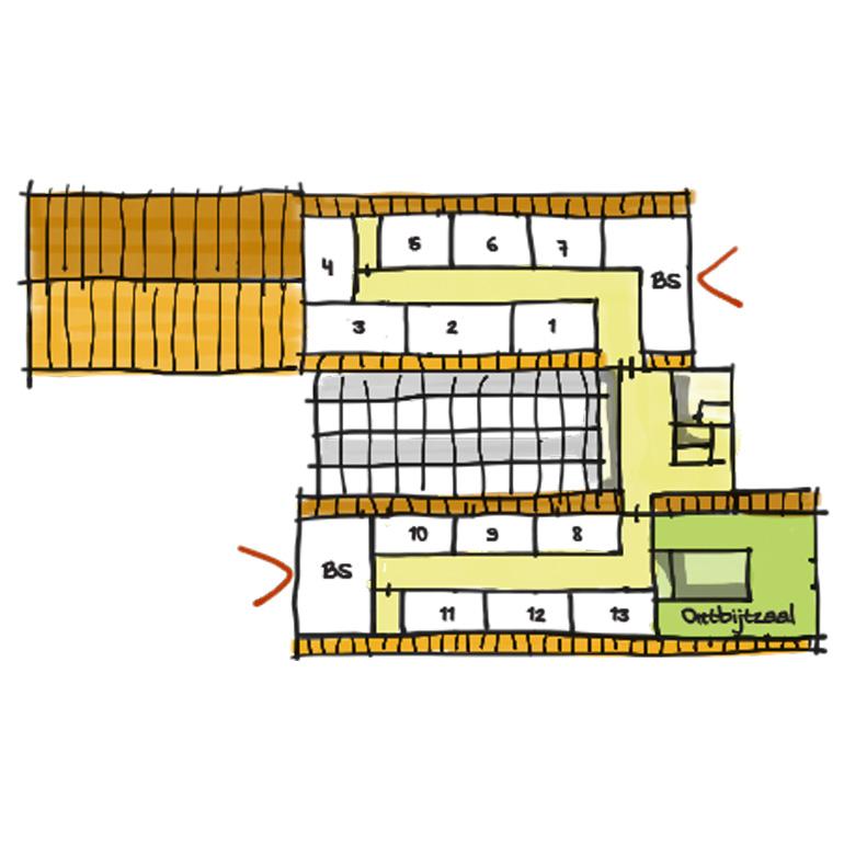 Herberg Vlietzigt - Schets 1e verdieping