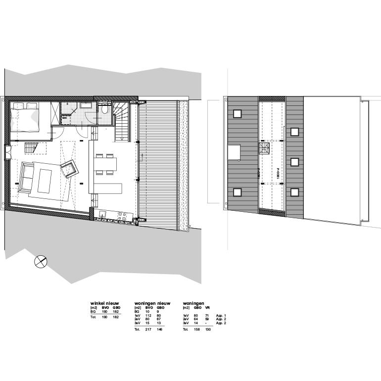 Rijksmonument Walstraat Vlissingen - plattegrond 2e verdieping