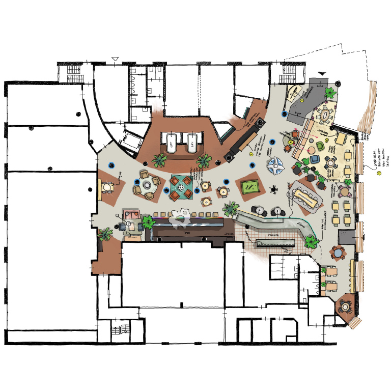 Hotel Den Haag-Voorburg: tijdelijke plattegrond beganegrond