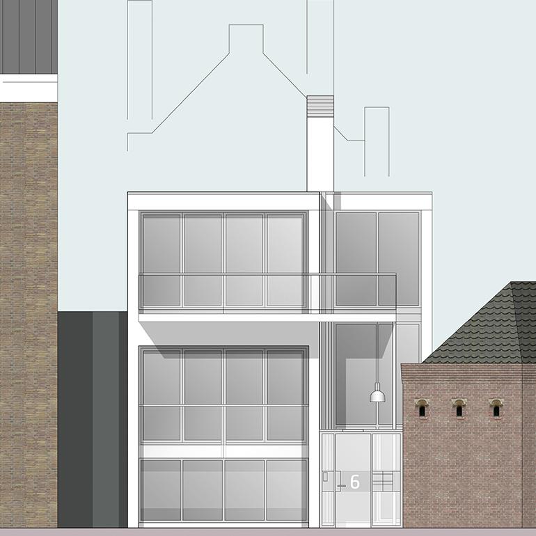 Lange Delft Middelburg - gevelaanzicht walplein